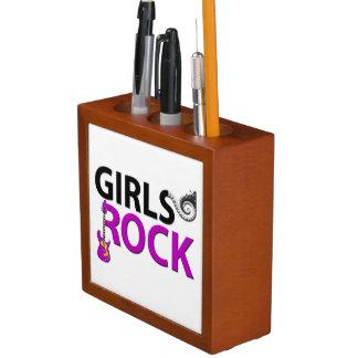女の子の石のギターのピアノ鍵及び音楽 ペンスタンド