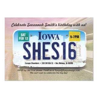 女の子の第16誕生日のアイオワ免許証の招待状 カード