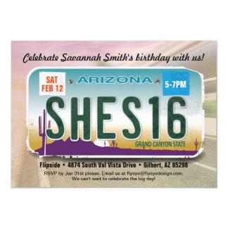 女の子の第16誕生日のアリゾナ免許証の招待状 カード