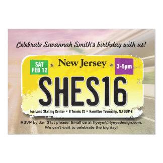 女の子の第16誕生日のニュージャージー免許証の招待状 カード