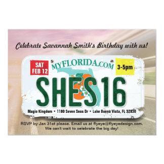 女の子の第16誕生日のフロリダ免許証の招待状 カード