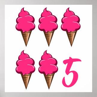女の子の第5誕生会のピンクのアイスクリーム ポスター