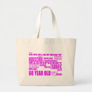 女の子の第60誕生日: ピンクのすばらしい60歳 ラージトートバッグ