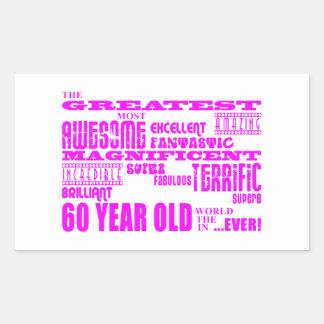 女の子の第60誕生日: ピンクのすばらしい60歳 長方形シール
