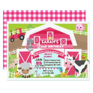 女の子の納屋周囲の庭の招待-農場の誕生日 カード
