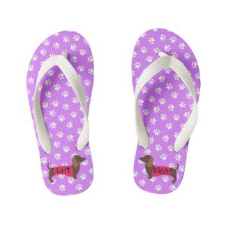 女の子の紫色のダックスフントのビーチサンダル キッズビーチサンダル