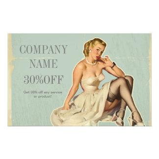 女の子の美容院の毛のメーキャップアーティストの上のレトロピン 14CM X 21.6CM チラシ