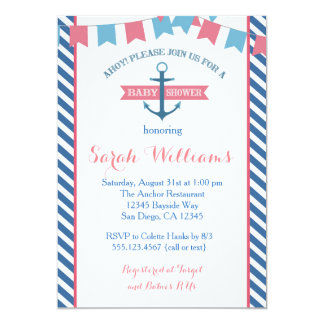 女の子の航海のなベビーシャワーの招待状のピンクおよび青 カード