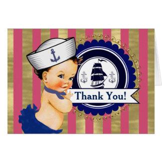 女の子の航海のなベビーシャワーは感謝していしています カード