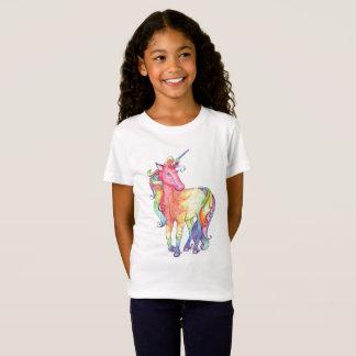 女の子の虹のユニコーンのTシャツ Tシャツ