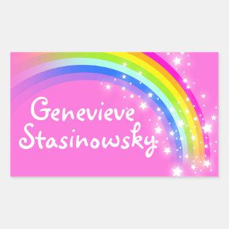 女の子の虹の名前のピンクIDのラベルのステッカー 長方形シール