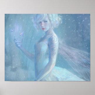 女の子の蝶絵画場合のブロンドの雪の冬 ポスター