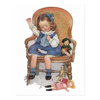 女の子の裁縫のトロッコ ポストカード