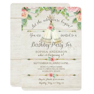 女の子の誕生日の冒険BOHOのテント小屋の矢木 カード