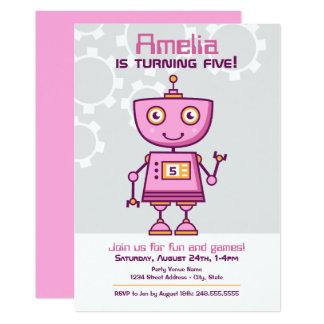 女の子の誕生日の招待状 のピンクのロボットテーマ カード
