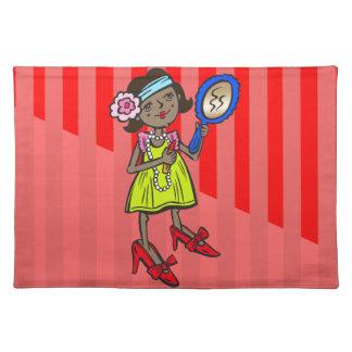 女の子の遊ぶことは服を着ます ランチョンマット