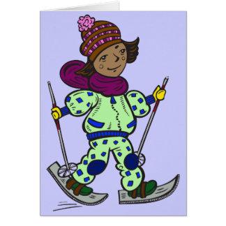 女の子の雪のスキー カード