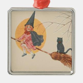 女の子の飛んでいるな魔法使いの黒猫の満月 メタルオーナメント