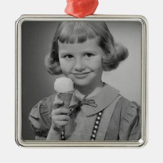 女の子の食べ物のアイスクリーム メタルオーナメント