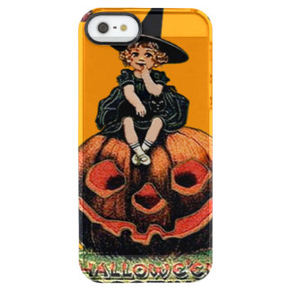 女の子の魔法使いの微笑のジャックOのランタンの黒猫 クリア iPhone SE/5/5sケース