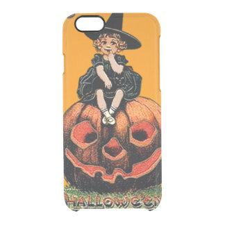 女の子の魔法使いの微笑のジャックOのランタンの黒猫 クリアiPhone 6/6Sケース