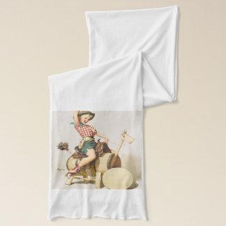 女の子の~のレトロの芸術の上の着席のかわいらしい西部Pin スカーフ