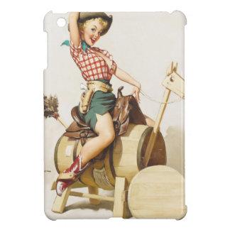 女の子の~のレトロの芸術の上の着席のかわいらしい西部Pin iPad Mini カバー