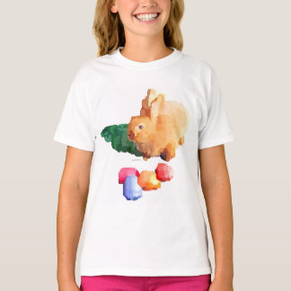 """女の子の""""イースターのウサギ""""のTシャツ(白い) Tシャツ"""