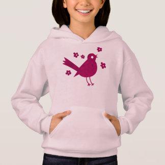 女の子のHanesのかわいらしい小鳥のフード付きスウェットシャツ