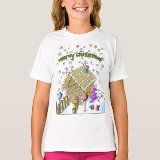 女の子のHanes TAGLESS®のTシャツ、メリークリスマス Tシャツ