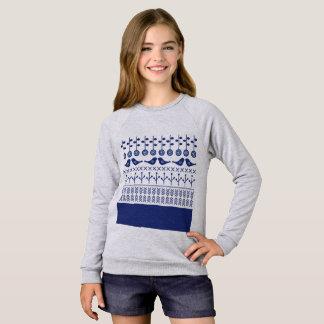女の子のraglanのTシャツ: 民俗花との灰色 スウェットシャツ