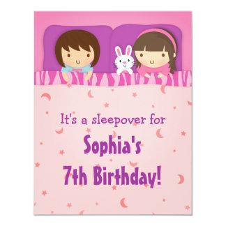 女の子のSleepoverの眠りのバースデーパーティ招待状 カード