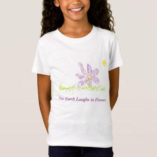女の子のTシャツの花のデザイン Tシャツ