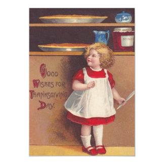 女の子のThankgivingかわいいパイ カード