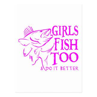 女の子のWALLEYEの魚釣り ポストカード