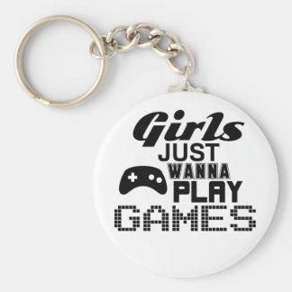 女の子はちょうどゲームを遊びたいと思います キーホルダー