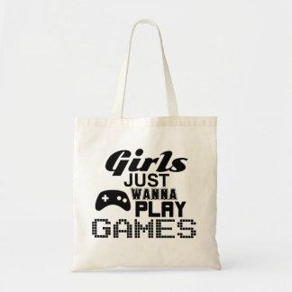 女の子はちょうどゲームを遊びたいと思います トートバッグ