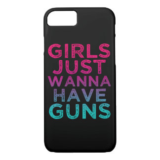 女の子はちょうど銃のおもしろいな電話箱を持ちたいと思います iPhone 8/7ケース