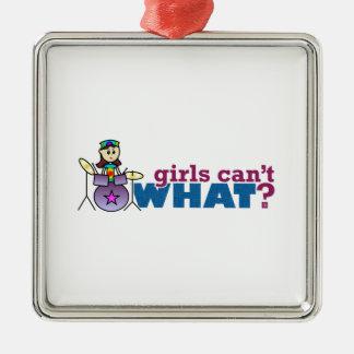 女の子は何できませんか。 女の子のドラマーのロゴ メタルオーナメント
