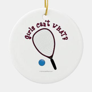 女の子は何できませんか。 Raquetball セラミックオーナメント