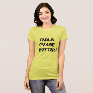 女の子は後部くもの巣のロゴのよりよい前部を追跡します Tシャツ