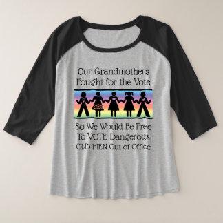 女の子は投票します プラスサイズラグランTシャツ