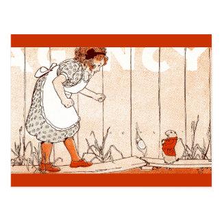 女の子は水田の足にプレーリードッグ会います ポストカード