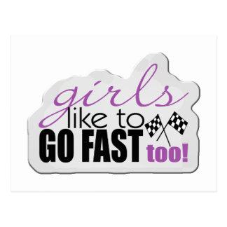 女の子は速く行きます ポストカード