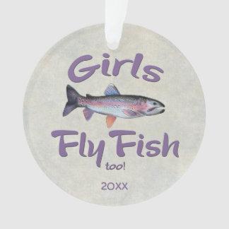 女の子は魚を飛ばしますも! ニジマスのはえの魚釣り オーナメント