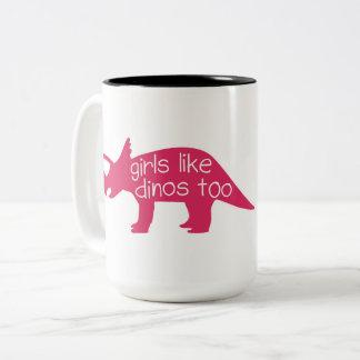 女の子はDinosの-マグを余りに好みます ツートーンマグカップ