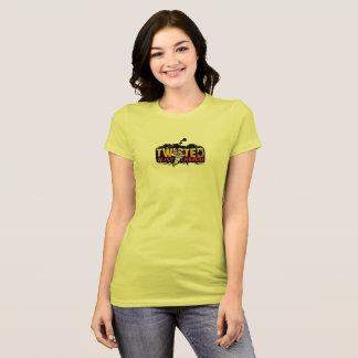 女の子はTACのロゴの前部が付いているよりよい後部を追跡します Tシャツ