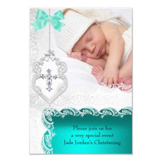 女の子または男の子の洗礼のヒスイのティール(緑がかった色)の白いレースの写真 8.9 X 12.7 インビテーションカード