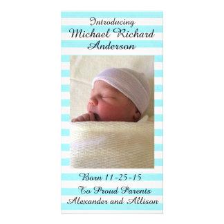 女の子または男の子の赤ん坊の発表名前入りな8x4 カード