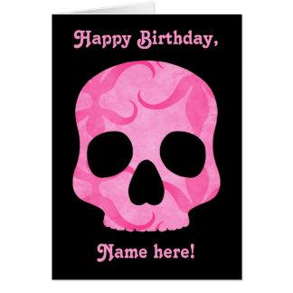 女の子らしい女の子のピンクのエレガントで渦巻形のなスカル カード